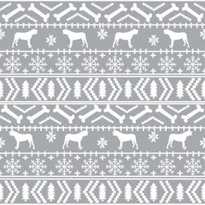 english mastiff fair isle - sweater, holiday, xmas, christmas, dog breed design -  grey