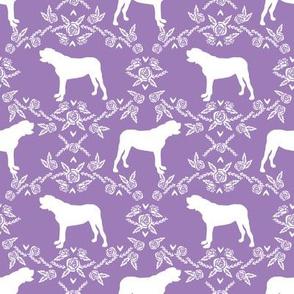 english mastiff floral dog silhouette fabric - dog, dogs, silhouette, dog breed, dog design, cute dog - purple