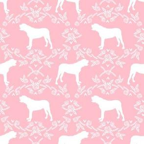 english mastiff floral dog silhouette fabric - dog, dogs, silhouette, dog breed, dog design, cute dog - pink