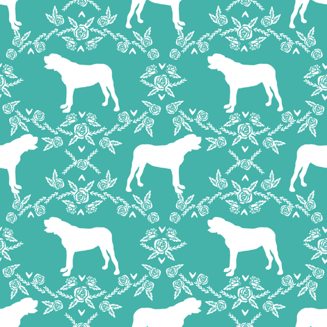 english mastiff floral dog silhouette fabric - dog, dogs, silhouette, dog breed, dog design, cute dog - turquoise fabric by petfriendly on Spoonflower - custom fabric