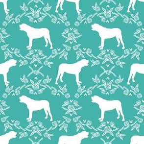 english mastiff floral dog silhouette fabric - dog, dogs, silhouette, dog breed, dog design, cute dog - turquoise