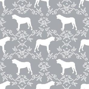 english mastiff floral dog silhouette fabric - dog, dogs, silhouette, dog breed, dog design, cute dog - grey