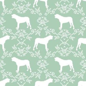 english mastiff floral dog silhouette fabric - dog, dogs, silhouette, dog breed, dog design, cute dog - mint
