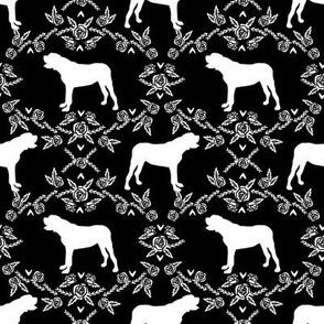 english mastiff floral dog silhouette fabric - dog, dogs, silhouette, dog breed, dog design, cute dog - black
