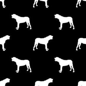 english mastiff dog silhouette fabric - dog, dogs, dog breed, english mastiff, dog breed fabric - black