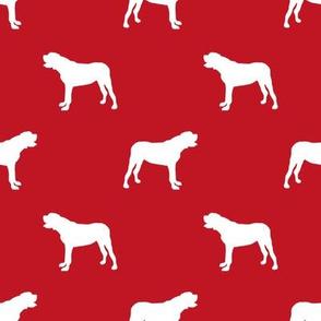 english mastiff dog silhouette fabric - dog, dogs, dog breed, english mastiff, dog breed fabric - red