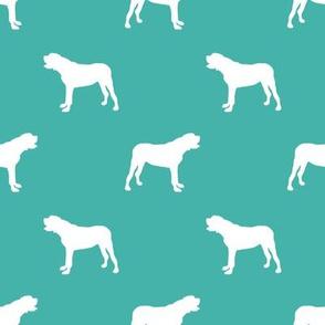 english mastiff dog silhouette fabric - dog, dogs, dog breed, english mastiff, dog breed fabric - turquoise