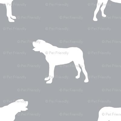 english mastiff dog silhouette fabric - dog, dogs, dog breed, english mastiff, dog breed fabric - grey