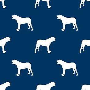 english mastiff dog silhouette fabric - dog, dogs, dog breed, english mastiff, dog breed fabric - navy