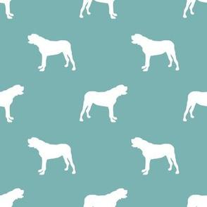 english mastiff dog silhouette fabric - dog, dogs, dog breed, english mastiff, dog breed fabric - gulf blue