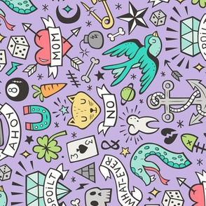 Tattoo Doodle on Purple Rotated