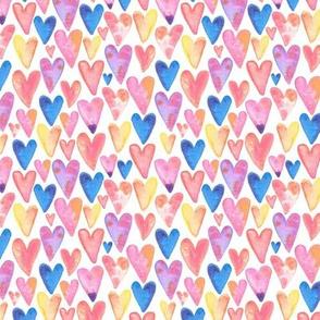 Watercolor Hearts - smaller scale