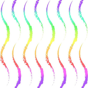 Vertical Wave -rainbow on white