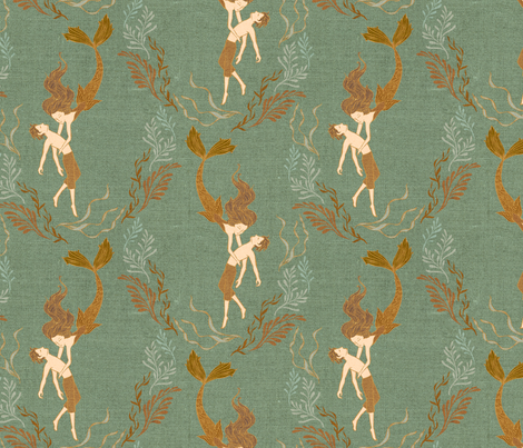 The Little Mermaid {Sea Green} fabric by ceciliamok on Spoonflower - custom fabric