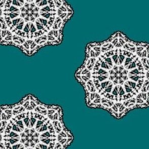 Heirloom Lace Doilies on Pretty Teal