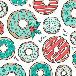 Christmas Holidays Donuts with Stars & Sprinkles Mint on White Larger