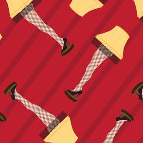Leg Lamp Christmas Pattern Stripes Red Retro