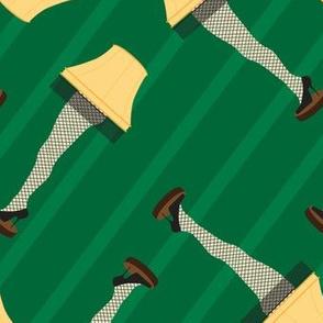 Leg Lamp Christmas Pattern Stripes Green Retro