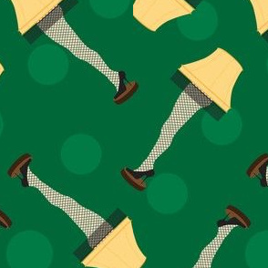 Leg Lamp Christmas Pattern Dots Green Retro