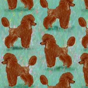 Custom Red Poodles on Pastels