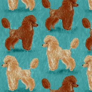 Custom Red and Apricot Poodles on Medium Teal