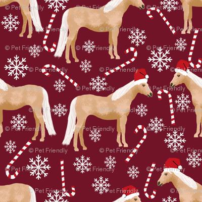 palomino horse christmas fabric - candy cane, snowflake, winter, christmas, xmas, holiday - burgundy