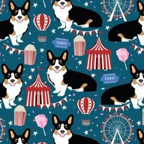 tricolored corgi dog - carnival, popcorn, ferris wheel, holiday, festival - navy