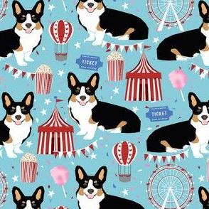 tricolored corgi dog - carnival, popcorn, ferris wheel, holiday, festival - light blue