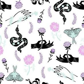 Luna Floral - luna moth, flower, floral, hand, linocut - mint and purple