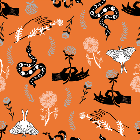 Luna Floral - luna moth, flower, floral, hand, linocut - orange fabric by andrea_lauren on Spoonflower - custom fabric