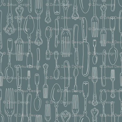 Gray Green Vintage Silverware Stripe Outline // Sing for Your Supper // Modern Farmhouse Collection