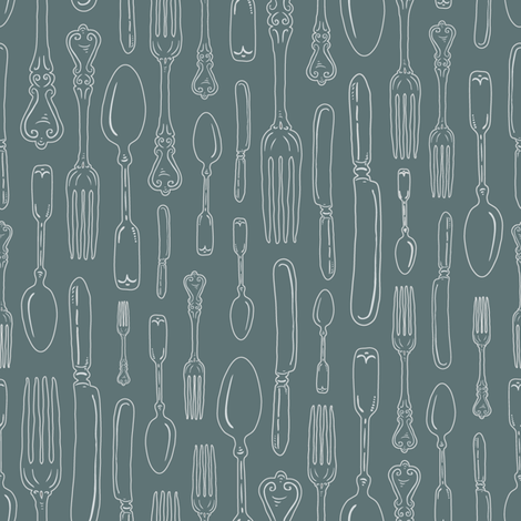 Gray Green Vintage Silverware Stripe Outline // Sing for Your Supper // Modern Farmhouse Collection fabric by zirkus_design on Spoonflower - custom fabric