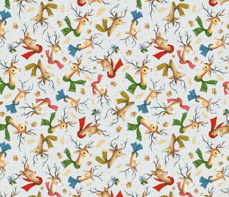 Vintage Reindeer on Holiday Silver Gray Linen – Retro Christmas – SMALL Scale fabric by gingerlous on Spoonflower - custom fabric