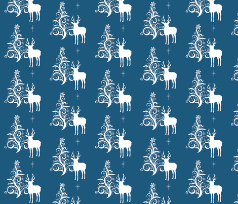 Buck with stylized tree blue fabric by denisebeverly on Spoonflower - custom fabric