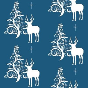 Buck with stylized tree blue