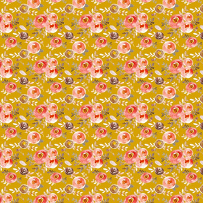 Modern Moody Fall Floral Pink Gray on Mustard