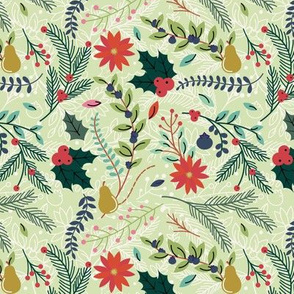 Christmas Floral - Light Green - Holly Poinsettia Pine Holiday Fabric
