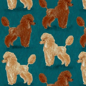 Custom Red and Apricot Poodles on Dark Teal