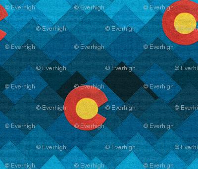 Textured Colorado mountains and sun