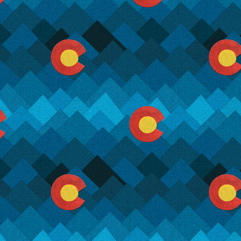 Textured Colorado mountains and sun fabric by everhigh on Spoonflower - custom fabric