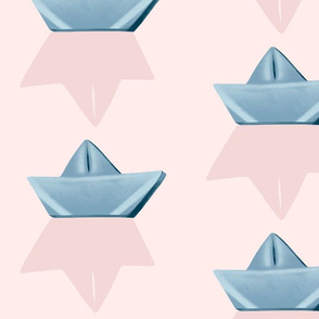 YourStory paperboat light blue on pink