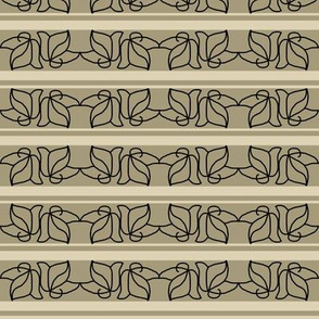 Wrought Iron Leaves on Beige and Cream Stripe