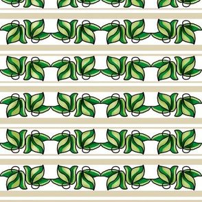 Green Leaves on Beige and White Stripe