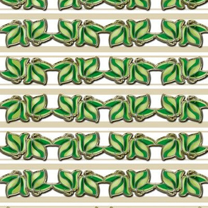 Faux Cloisonne Green Leaves on Beige and White Stripe