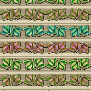 Multicolored Faux Cloisonne Leaves on Beige and Cream Stripe