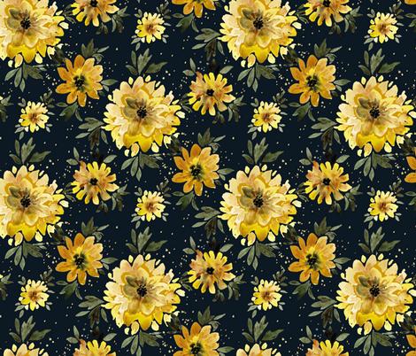 Sunflower Sprinkle black fabric by crystal_walen on Spoonflower - custom fabric
