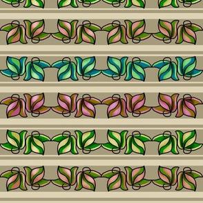 Multicolored Leaves on Beige and Cream Stripe