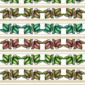 Multicolored Leaves on Beige and White Stripe