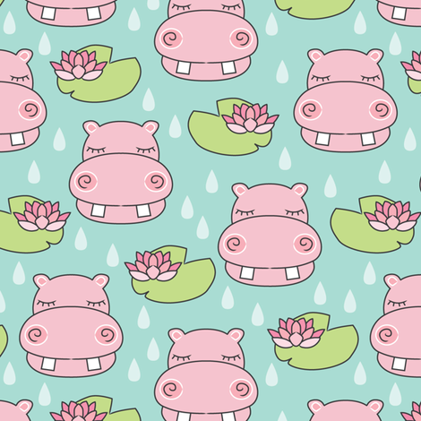 hippos-and-water-lilies-on-teal fabric by lilcubby on Spoonflower - custom fabric