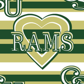 Colorado State Rams Team School Colors Green Gold White Stripes Heart